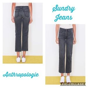 Sundry Trim High Rise Relaxed Straight Jeans